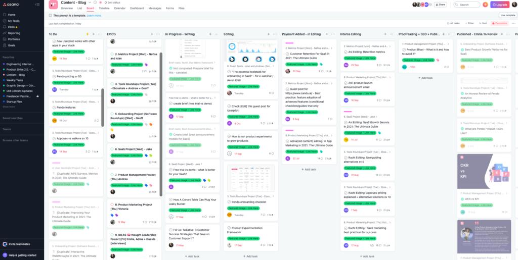 content workflow in Asana full